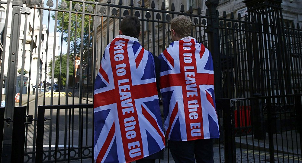 Vote leave supporters wear Union flags, following the result of the EU referendum, outside Downing Street in London, Britain June 24, 2016.