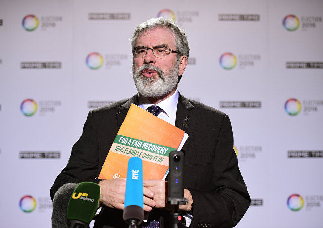 Republican party Sinn Fein leader Gerry Adams addresses journalists as he attends the final televised debate in Dublin. (File)