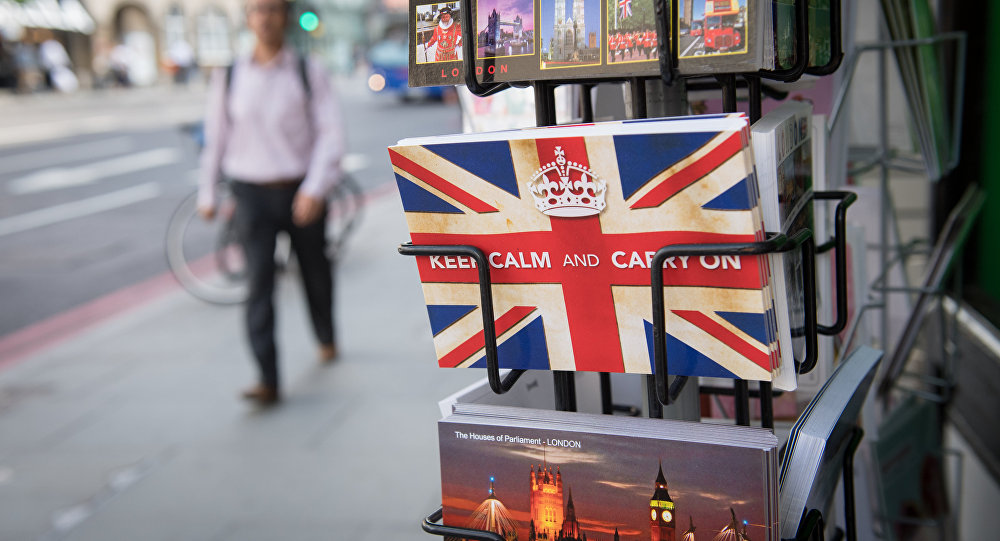 Postcards featuring the World War II British slogan Keep Calm and Carry On are seen outside a newsagents in London, on 24 June, 2016.