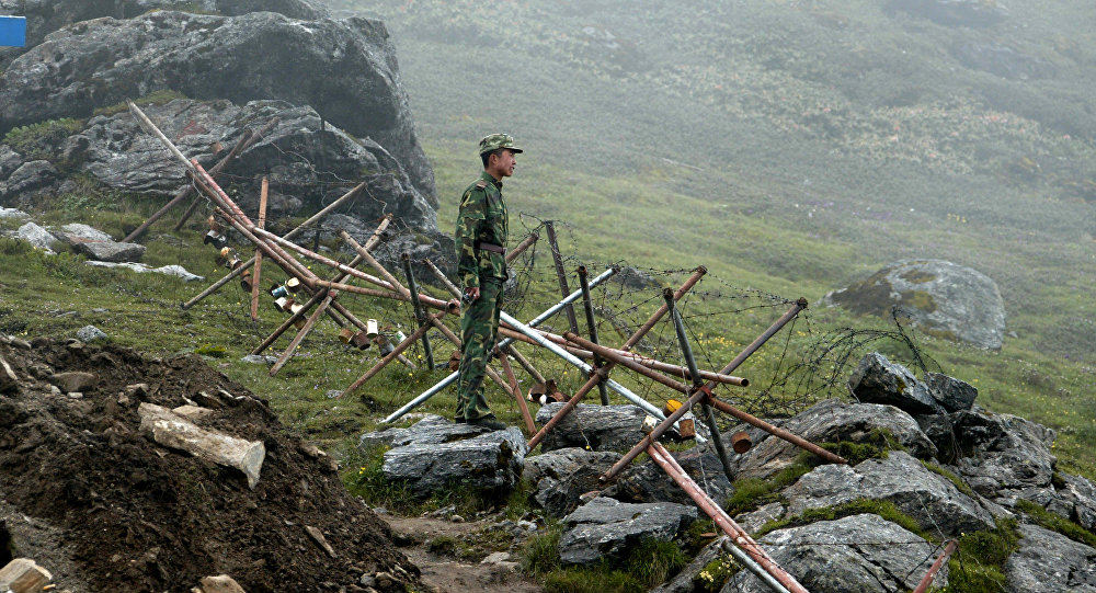Chinese soldier stands guard on the Chinese side of the ancient Nathu La border crossing between India and China. (File)