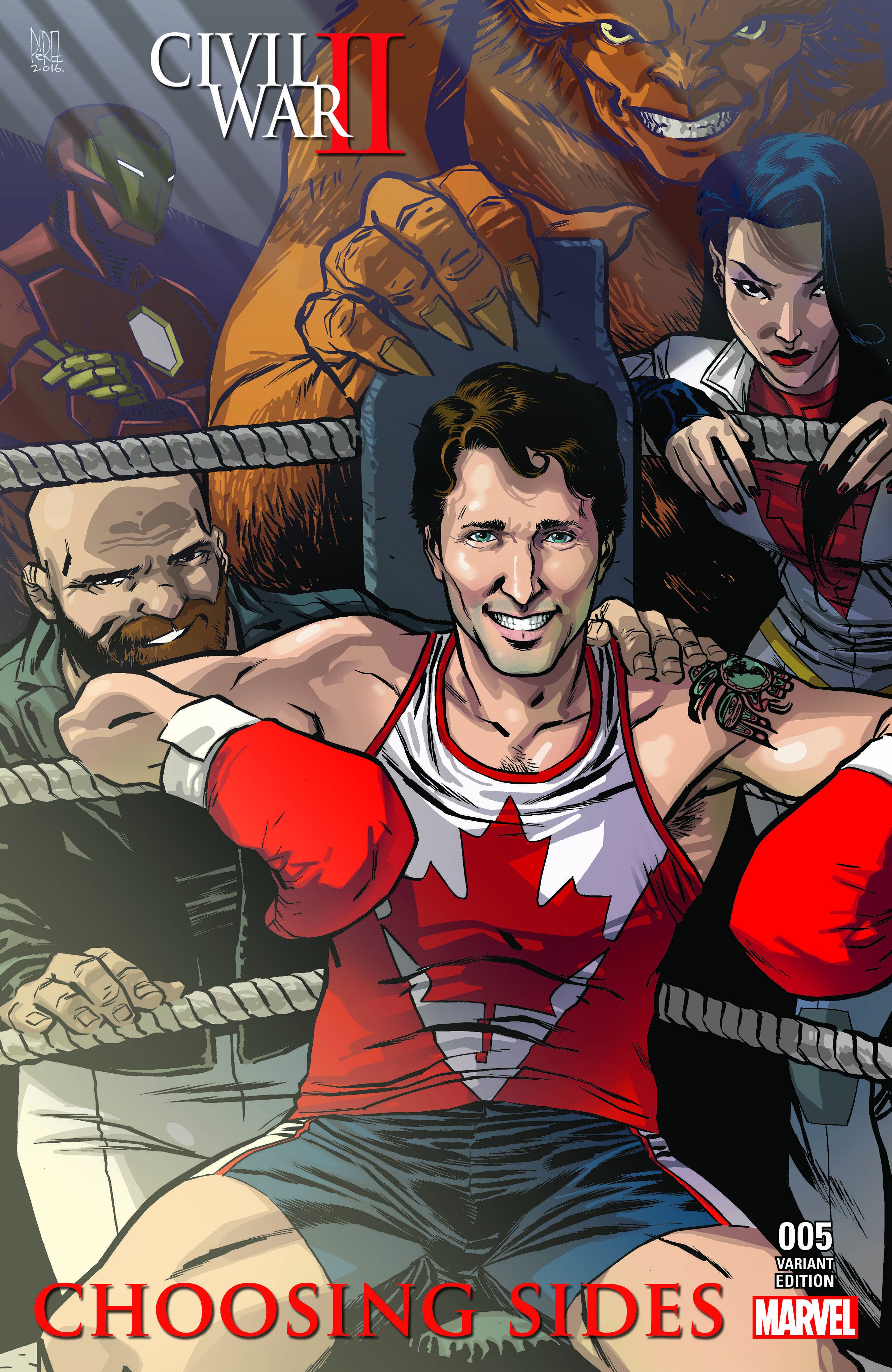 Canadian Prime Minister Justin Trudeau on Marvel comic cover