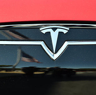 An American flag is reflected in the grill of a Tesla Model S