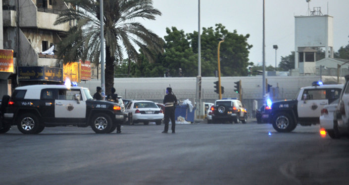 Saudi policemen stand guard at the site where a suicide bomber blew himself up in the early hours of July 4, 2016 near the American consulate in the Red Sea city of Jeddah