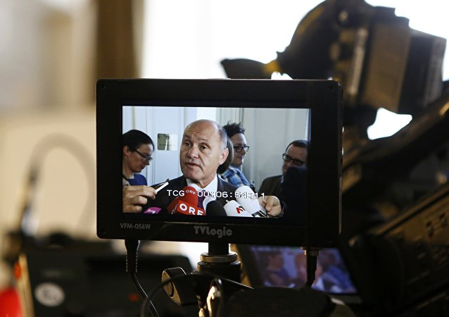 Austrian Interior Minister Wolfgang Sobotka is seen on a camera screen (File)
