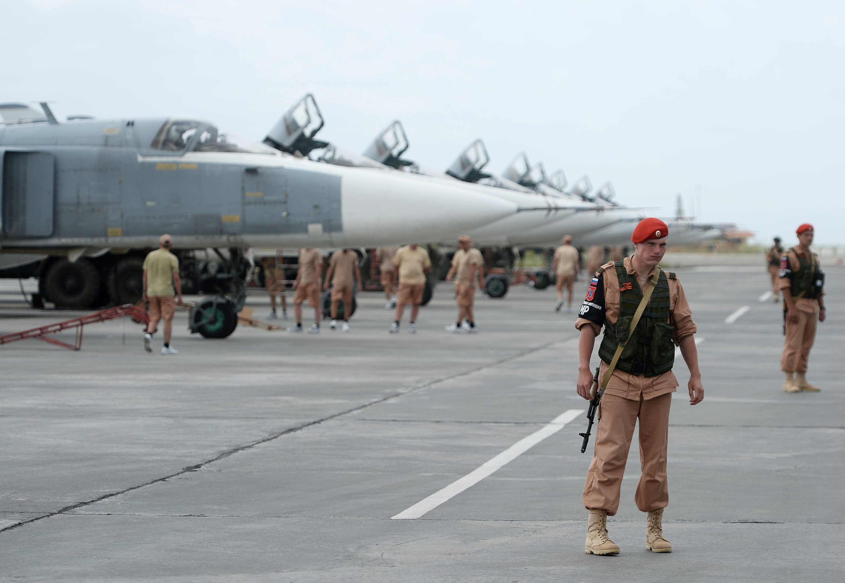 Russian servicemen at the Hmeymim airbase in Syria. File photo