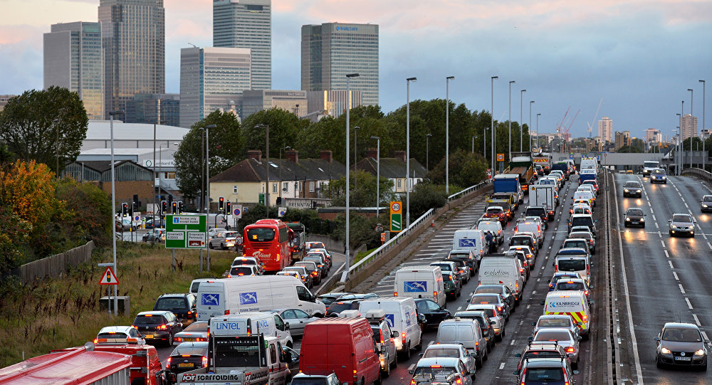 Traffic queues on a main route into London by the towers of London's financial district Canary Wharf (File)