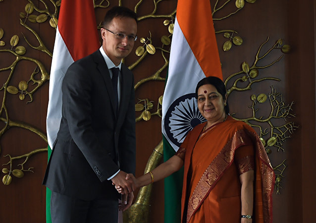 Hungary's Minister of Foreign Affairs and Trade, Peter Szijjarto (L) shakes hands with Indian Minister of Foreign Affairs, Sushma Swaraj prior to a meeting at the Indian External Affairs ministry in New Delhi on July 5, 2016
