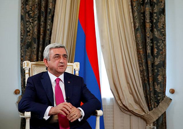 Armenia's President Serzh Sargsyan speaks during an interview with Reuters at his office in Yerevan, Armenia, June 25, 2016. Picture taken June 25, 2016.