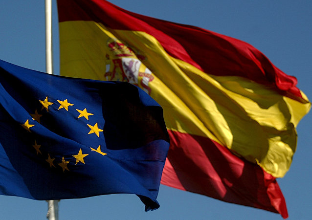 The Spanish flag and the European flag