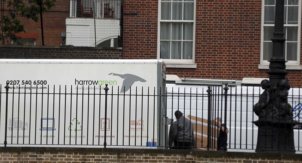 A furniture removal lorry is seen parked at the rear of number 10 Downing Street, in central London, Britain July 12, 2016