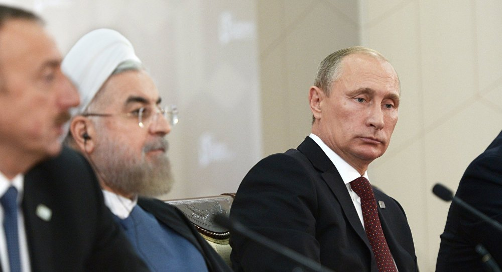 From left: President of Azerbaijan Ilham Aliyev, Iranian President Hassan Rouhani and Russian President Vladimir Putin (File)