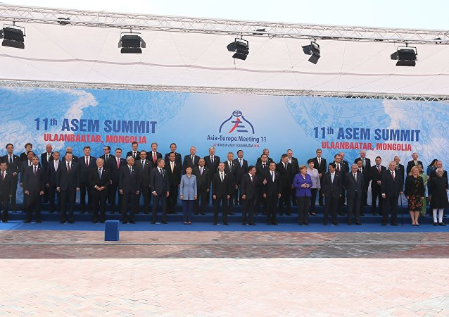 Prime Minister Dmitry Medvedev at the ASEM Summit in Mongolia