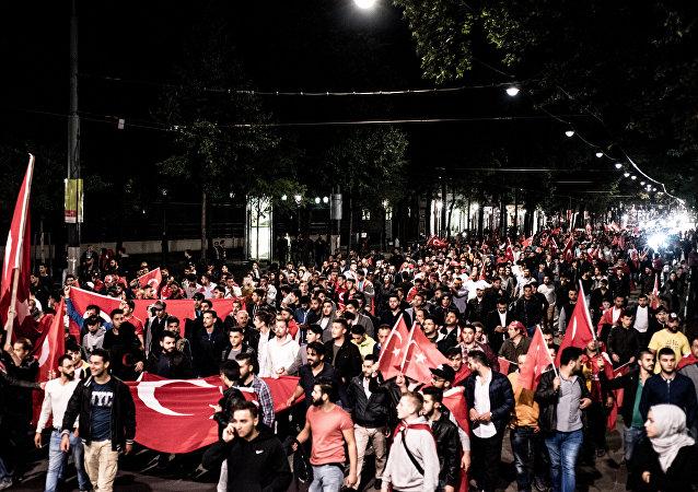 Erdogan-supporters demonstrate in Vienna, Austria, on July 16, 2016