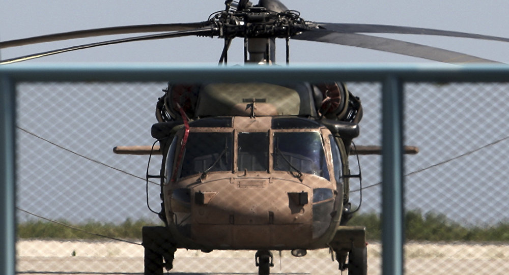 A photo taken on July 16, 2016 shows a Turkish military helicopter at Alexandroupolis airport, after landing there carrying eight officers seeking asylum after a coup bid in Turkey the night before.