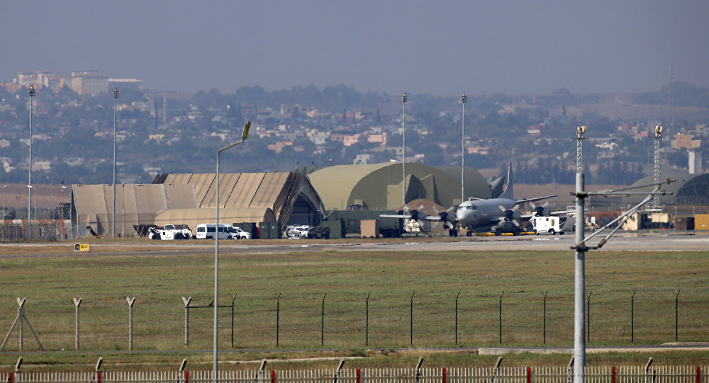 A military aircraft is pictured on the runway at Incirlik Airbase, in the outskirts of the city of Adana, southeastern Turkey