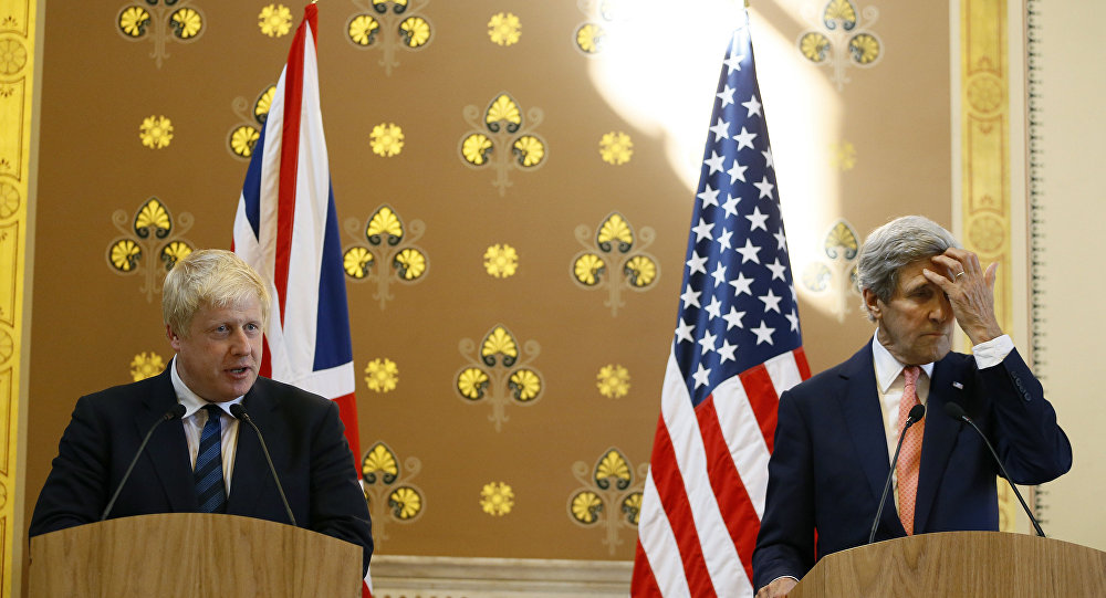 Britain's Foreign Secretary Boris Johnson speaks during a press conference with U.S. Secretary of State John Kerry