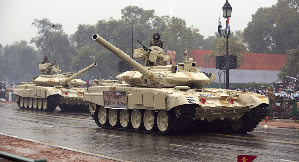 Tanks move along the Republic Day Parade route in New Delhi, India