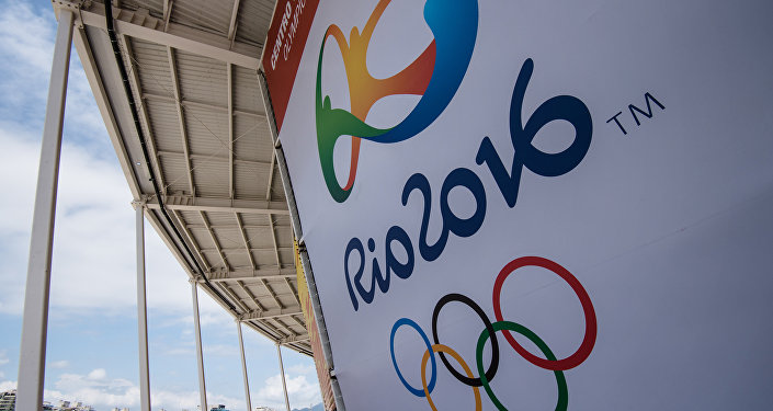 A banner with the Olympic logo for the Rio 2016 Olympic Games seen at the Olympic Tennis Centre of the Olympic Park in Rio de Janeiro, Brazil, on December 11, 2016