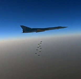 A Russian Air Force long-range bomber TU-22M3 seen here bombing ISIS targets