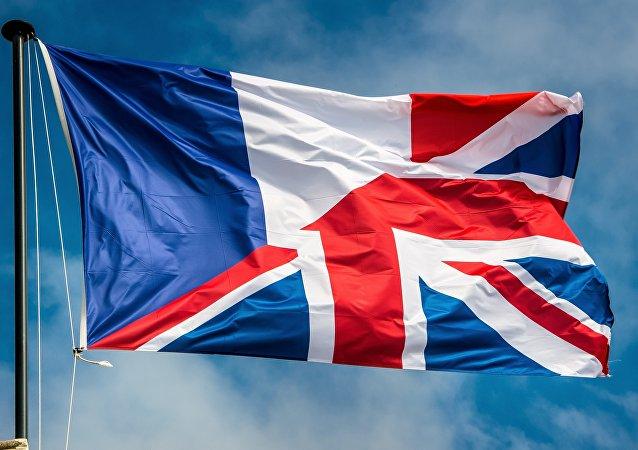 An amalgamation of the French and United Kingdom flag