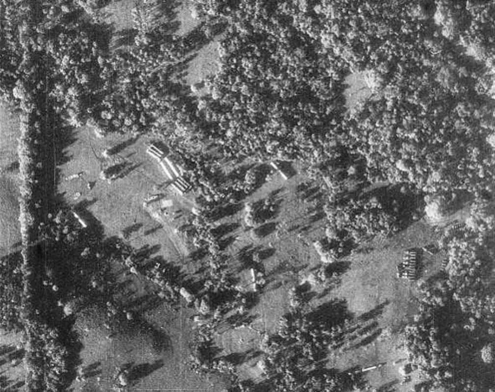 A U-2 reconnaissance photograph of Cuba, showing Soviet nuclear missiles, their transports and tents for fueling and maintenance