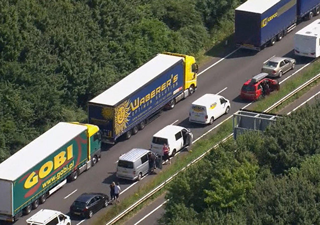 Part of the miles long queue of traffic outside Dover, England, waiting to cross the English Channel into France