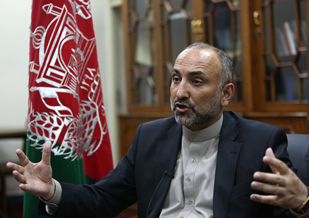Afghan National Security Adviser Mohammad Hanif Atmar speaks during an interview with The Associated Press, in Kabul, Afghanistan. (File)
