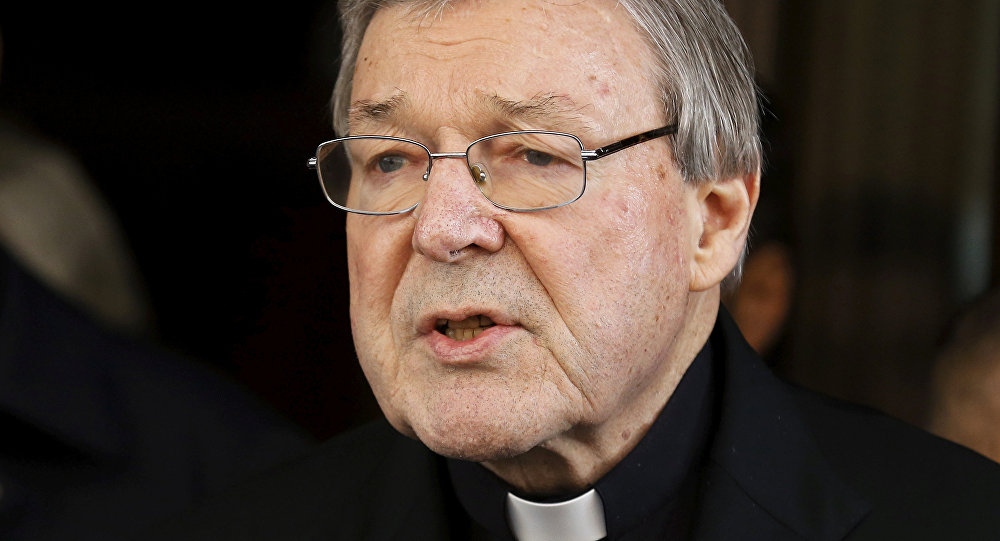 Australian Cardinal George Pell speaks to journalists at the end of a meeting with the sex abuse victims at the Quirinale hotel in Rome, Italy, March 3, 2016.