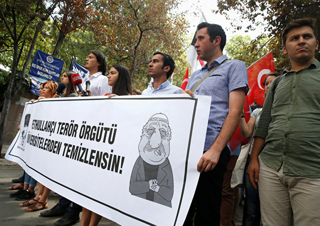 Pro-nationalist university students during a protest against U.S.-based cleric Fethullah Gulen and his followers during a demonstration in Ankara, on July 21, 2016