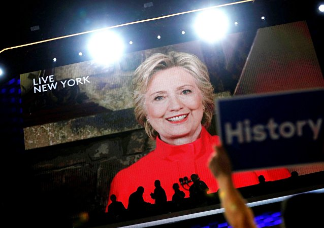 Democratic presidential nominee Hillary Clinton addresses the Democratic National Convention via a live video feed from New York during the second night at the Democratic National Convention in Philadelphia, Pennsylvania, US, July 26, 2016.