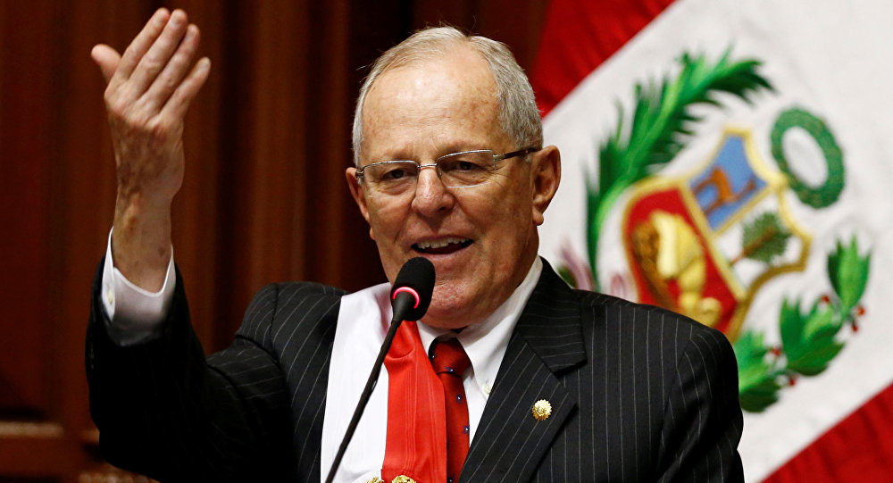 Peru's President Pedro Pablo Kuczynski gestures while addressing the audience after receiving the presidential sash during his inauguration ceremony in Lima, Peru, July 28, 2016