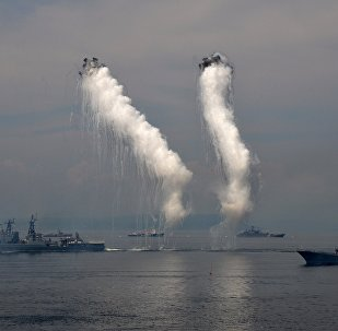 Pacific Fleet ships during the Navy Day celebration