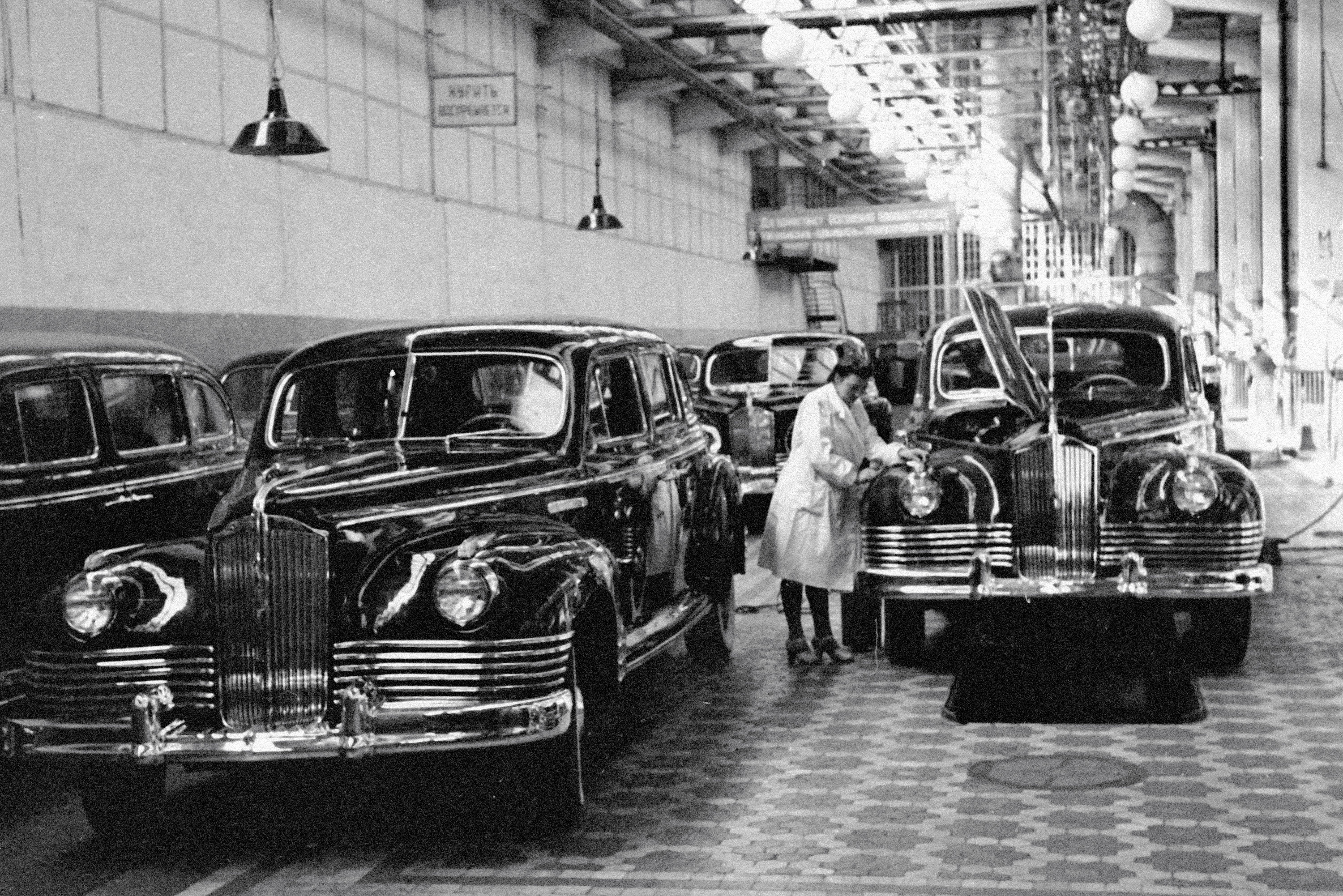 A ZIS 110 limousine assembly conveyor line at the Moscow Autoworks