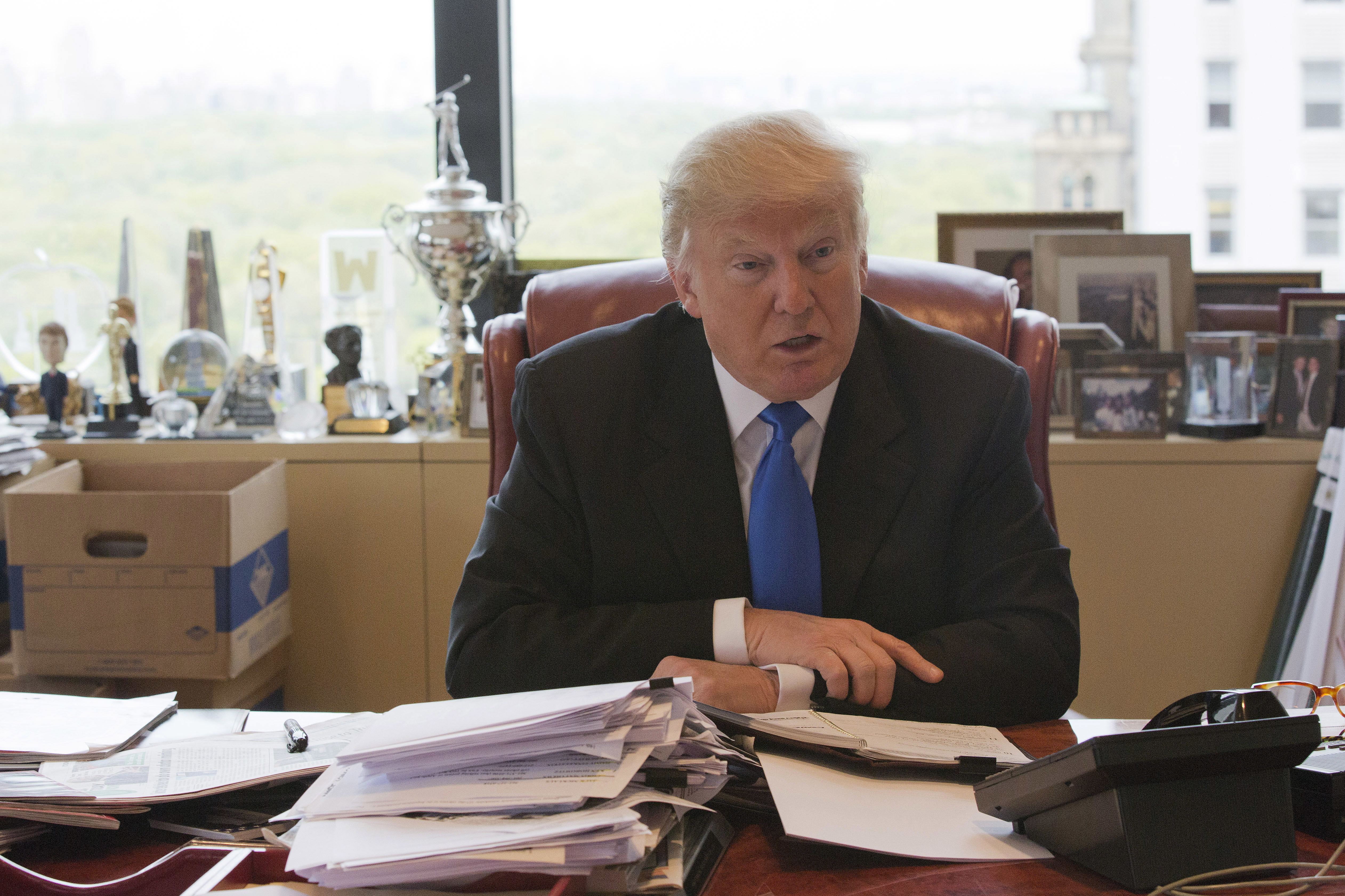 Republican presidential candidate Donald Trump speaks during an interview with The Associated Press in his office at Trump Tower, Tuesday, May 10, 2016, in New York