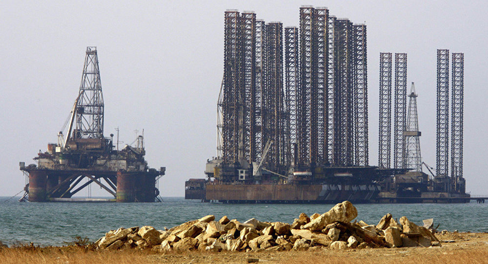An oil rig in the Caspian Sea