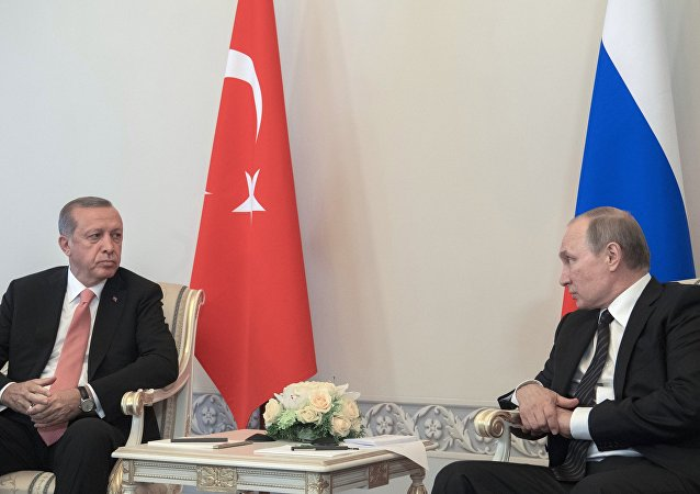 Russian President Vladimir Putin (right) meeting with Turkish President Recep Tayyip Erdogan at the Constantine palace in St. Petersburg