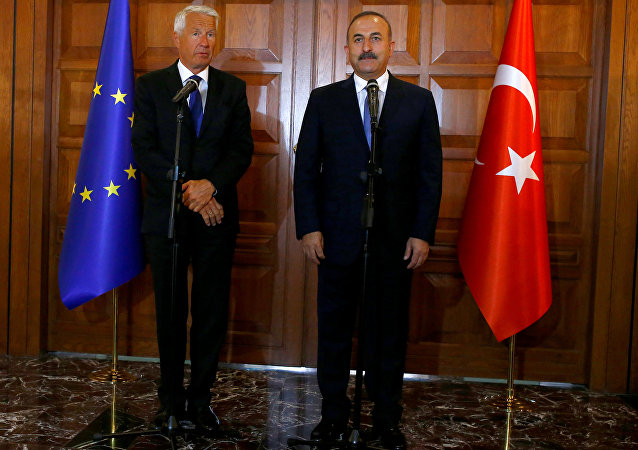 Turkey's Foreign Minister Mevlut Cavusoglu (R) and Secretary General of the Council of Europe Thorbjorn Jagland address the media in Ankara, Turkey, August 3, 2016.