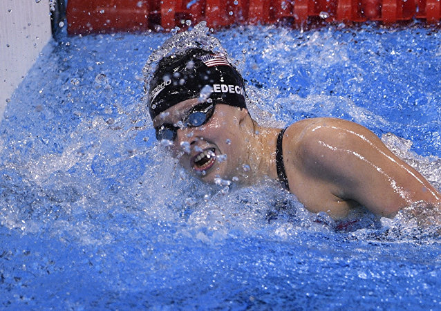 USA's Katie Ledecky competes to break the world record in the Women's 800m Freestyle Final during the swimming event at the Rio 2016 Olympic Games at the Olympic Aquatics Stadium in Rio de Janeiro on August 12, 2016