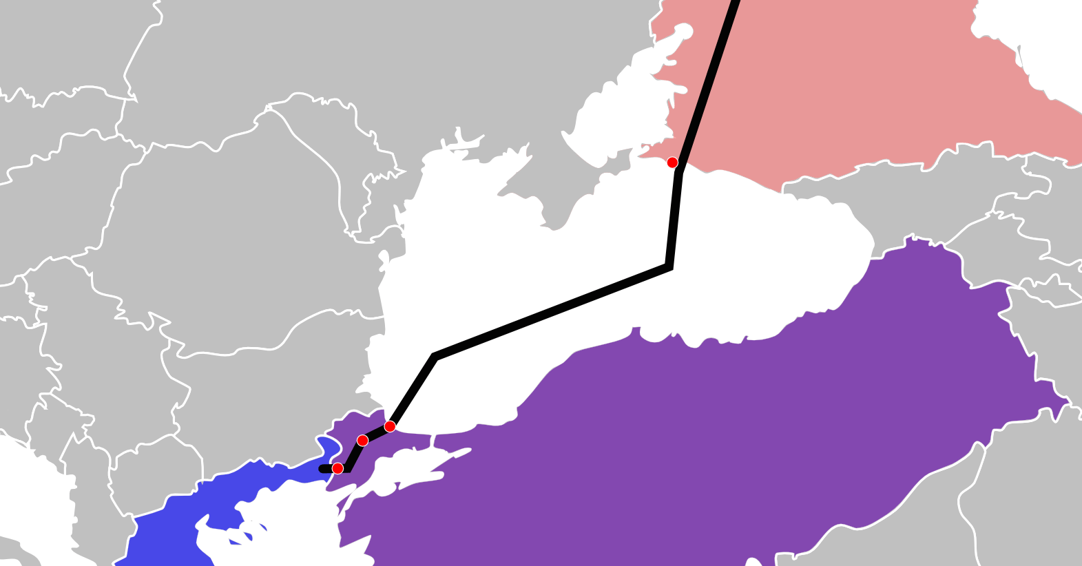 One possible route of the Turkish Stream pipeline project. Another envisions a shorter pipeline, travelling to northern Turkey, where it could connect to other pipelines inside the country.