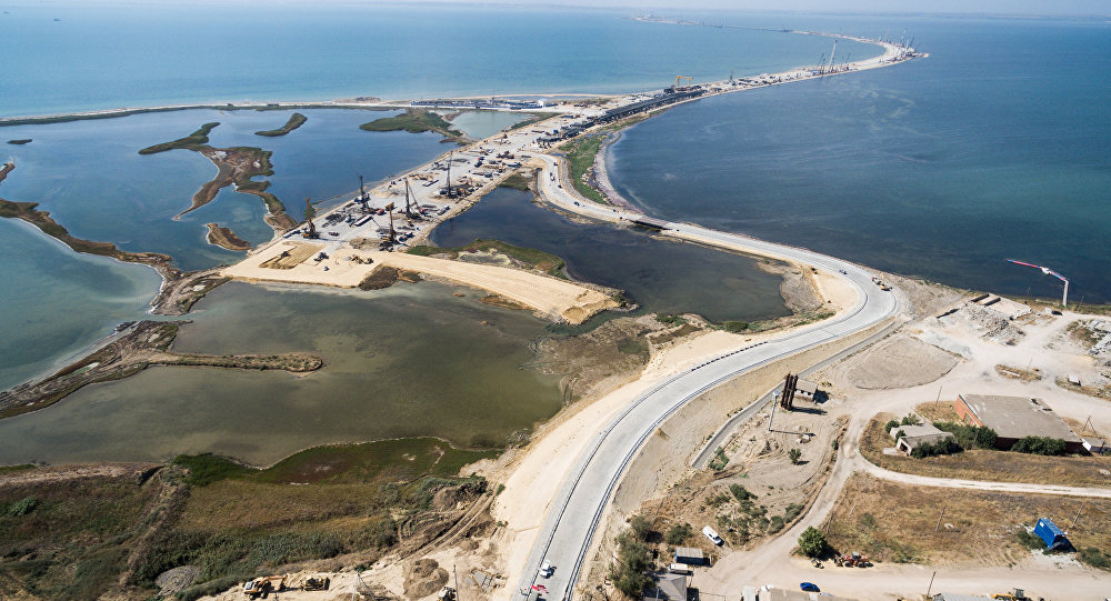 Construction site of new highway to Crimea
