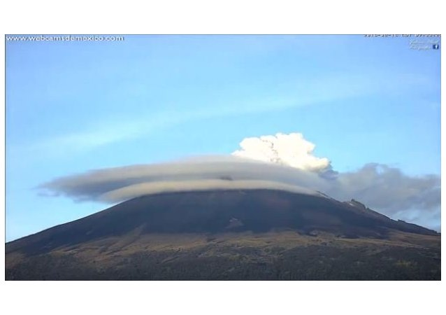 Popocatepetl Surrounded by Cloud Halo During Volcanic Exhalation