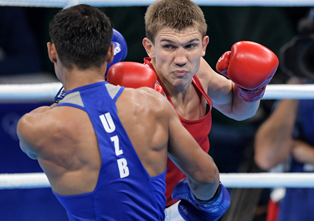 Light welter Vitaly Dunaitsev (Russia) in a semi-final of the boxing competitions at the XXXI Summer Olympics