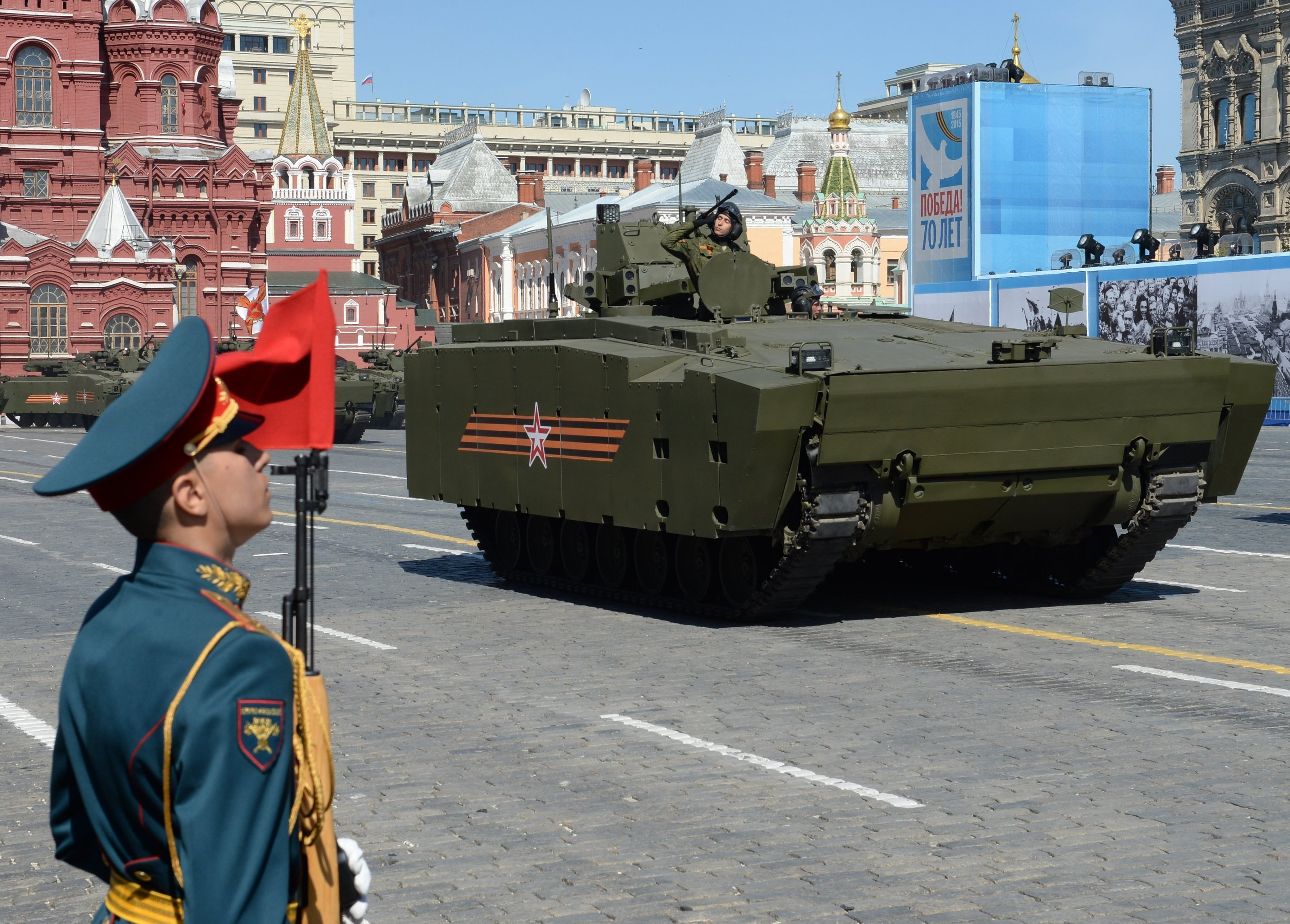 A Kurganets armored personnel carrier with medium-category caterpillar chassis at the final rehearsal of the military parade in Moscow to mark the 70th anniversary of the WWII Victory