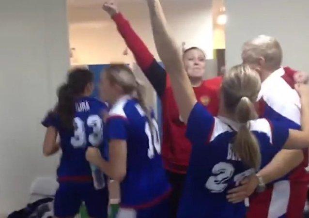 Russian female handball team celebrates their Olympic gold medal