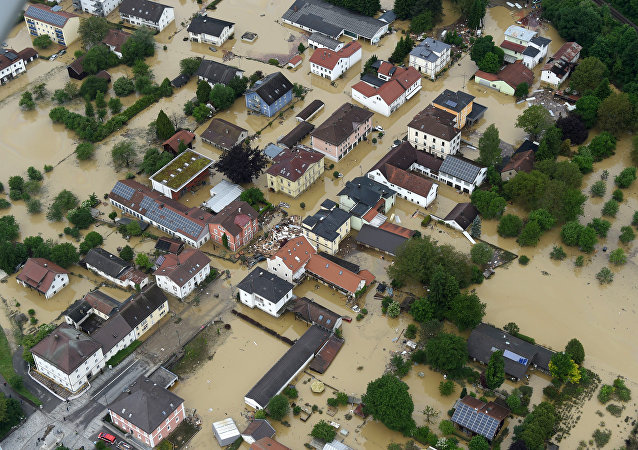 An aerial view shows the flooded streets and damages in Simbach am Inn, southern Germany, Thursday June 2, 2016