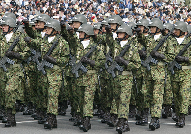 Troops of Japan Grand Self-Defense Force (JGSDF) 1st Airborne Brigade march during an inspection parade for the JGSDF Eastern Army 44th anniversary celebration at Asaka training field, suburban Tokyo (File)