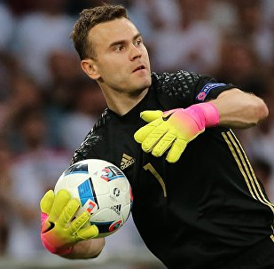 Russia's goalie Igor Akinfeyev at the UEFA Euro 2016 group stage match between the national teams of England and Russia.