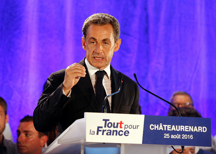 Nicolas Sarkozy, former head of the Les Republicains political party and a former French president, attends his first political rally since declaring his intention to run in 2017 for president, in Chateaurenard, France, August 25, 2016.