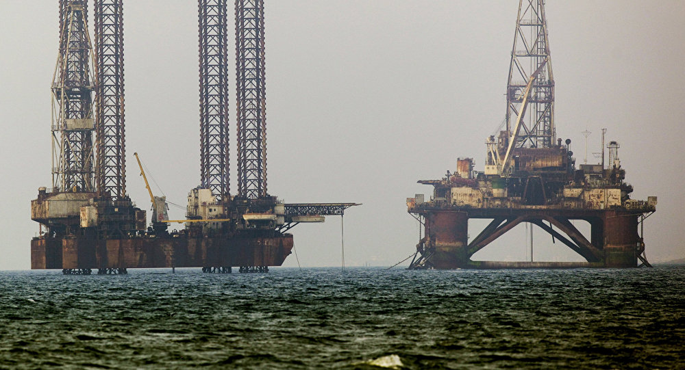 Oil rigs in the Caspian Sea