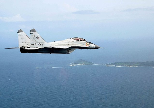 Mikoyan MiG-29K of the Indian Navy in flight over Indian islands